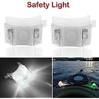 Botepon 2 luces de advertencia para barco de bicicleta, impermeables, con 3 modos, impermeables, color verde, Blanco