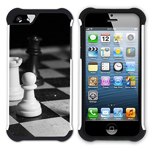 Graphic4You Schach Spiel Schach-Vorstand Hart + Weiche Kratzfeste Hülle Case Schale Tasche Schutzhülle für Apple iPhone SE / 5 / 5S Design #6