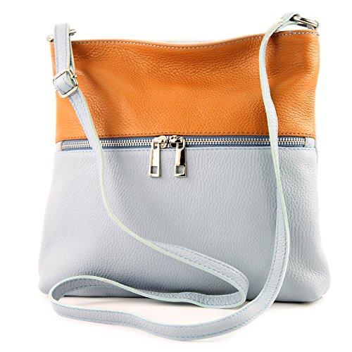 modamoda de -. Sac en cuir ital sac à bandoulière croisé dames sac de messager en cuir T144 Eisblau/Camel