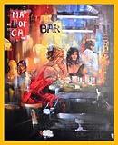 Madjid Bar Scene IV Poster Kunstdruck Bild mit Leinenprägung im Holz Rahmen in Gelb 84,8x64,8cm - Germanposters