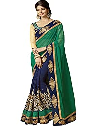 SareeShop Women's Georgette Embroidered Saree With Blouse Piece(PrachiGreen-SAREE01_Green_COLOUR)