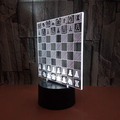 DDBBhome Ajedrez 3D Luces Nocturnas Gradiente Colorido Táctil USB Acr