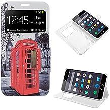 Funda Piel Flip Cover Diseño Premium para Meizu M2 / M2 Mini Dibujos London