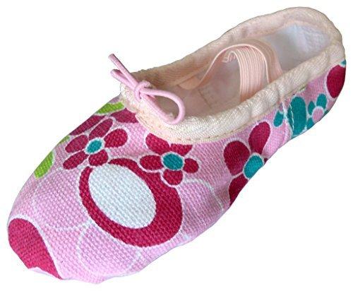 Rosa-Bunt Gr. 35, Dancina Kinder Erste Ballettschuhe aus buntem Leinen mit geteilter (Kostüm Jazz Muster Tanz)