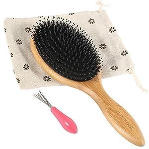 Borsten büschel Bambus Holz Massage Kamm, Knoten Keine Statische Bequem und Strapazierfähig Großes Paddel Haarbürste Mit Gasbag (Schwarz)