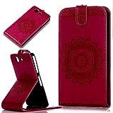 Sony Xperia Z3 Compact Hülle,ikasus Prägung Floral Spitze Blumen Mandala Muster PU Lederhülle Flip Hülle Handyhülle Ständer Tasche Wallet Case Schutzhülle für Sony Xperia Z3 Compact,Rose Red