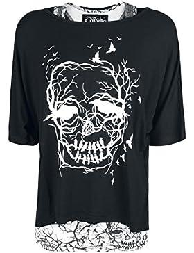 Vixxsin Skull Crow Twin Top Camiseta Mujer negro-blanco