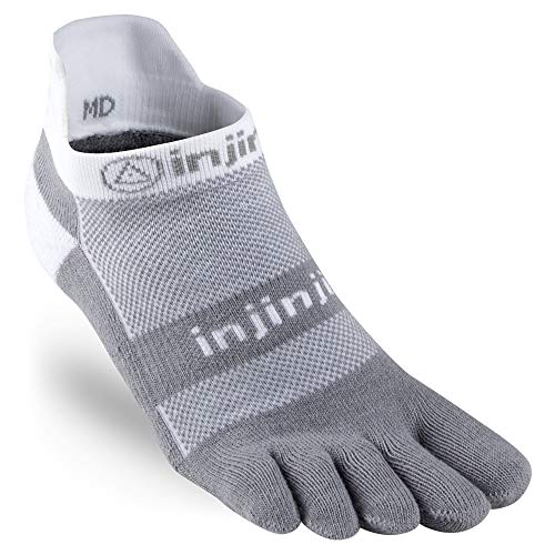 Injinji Performance 2.0 Run Midweight No-Show CoolMax Toe Socks -White/Gray-L -