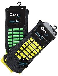 Qano 2er Pack ABS Herrensocken, Stoppersocken, Grau / NEON (43/46), Grau / gelb und grün)