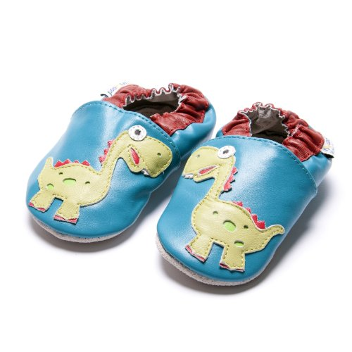 Jinwood designed by amsomo - Boys - Jungen - Hausschuhe - echt Leder Lederpuschen - Krabbelschuhe - soft sole / mini shoes div. Groeßen dinosaur oceanlue soft sole