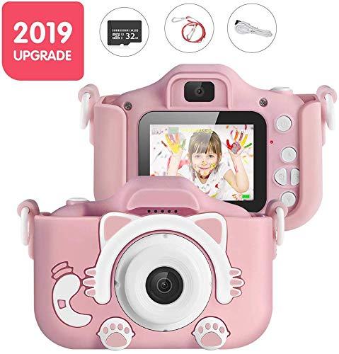 Doifck Kinder-Kamera, nachladbare Nette Kinder Digital-Videokamera Geschenke, Mini Kind Camcorder für Junge Mädchen, 32 GB-Karte und Spiele,Rosa