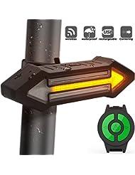 Luz Trasera para Bicicletas HAHAKEE Control Remoto Inalámbrico,Luz de Giro y Luz de Advertencia como las de Automóviles,A Prueba de Agua y Recargable,Luz Trasera Roja para Bicicleta LED de 500 Lúmenes