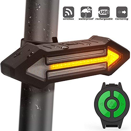 Fanale Posteriore Per Bicicletta HAHAKEE - Telecomando Wireless, Freccia e Luce di Segnalazione come per l'auto, Impermeabile e Ricaricabile, Luce Posteriore a 500 LED Rossa per Bicicletta