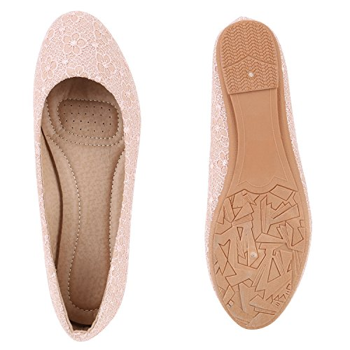 Klassische Damen Ballerinas | Lederoptik Flats | Schuhe Übergrößen | Flache Slipper | Spitze Prints Strass Rosa Muster