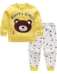 CHIC-CHIC Ensemble Pyjama Vêtements de Nuit Enfant Garçon Fille T-shirt à Manches Longues Top + Pantalon Sport Casual Impression Mignon Animal