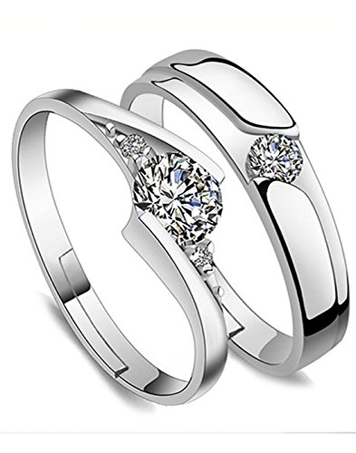 Karatcart Platinum Plated Elegant Couple Adjustable Solitare Rings For Men & Women