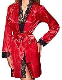 tohole Damen Reizwäsche Nachtkleid Sexy Negligee Sommer Nachtwäsche Nachthemd Lingerie Träger Kleid Spitze Dekor Dessous Set Spitzenbademantel-Nachthemd Weich und bequem für Mädchen