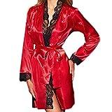 Yazidan Frau Sexy Seide Kimono Dressing Puppe Spitze UnterwäSche Bad Robe NachtwäSche V-Ausschnitt Seidig Satin Chemise Nachthemd Elegant Kleid Schlafanzug NachtschwäRmer Nachtkleid(rot,M)