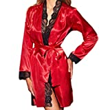 Fenverk Frau Sexy Die Seide Kimono Dressing Puppe Spitze Dessous Bad Robe NachtwäSche V-Ausschnitt Seidig Satin Chemise Nachthemd G-String Elegant Kleid Schlafanzug Nighty Nachtkleid(rot,XL)