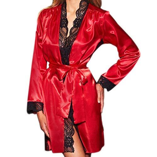 MRULIC Damen Seide Kimono Dressing Babydoll Spitze Dessous Bademantel Frühling und Herbst Nachtwäsche Robe Nightwear Kleid(Rot,M)