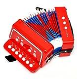 kleines Kinder Akkordeon ab 3 Jahre in Rot mit 7 Noten Tasten und 2 Bässe