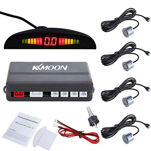 Kkmoon sistema di sensori di parcheggio auto, parcheggio auto a led retromarcia, sistema radar di backup, con display retroilluminato + 4 sensori, grigio