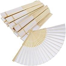 rovtop 12Color Blanco Abanico seda–Abanico plegable mano gehaltener beweglicher Ventilador para Fiesta de Boda de bevorzugung/Bailar de sujetalibros/DIY regalo