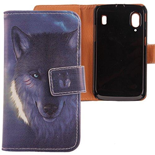 Lankashi PU Flip Leder Tasche Hülle Case Cover Schutz Handy Etui Skin Für Medion Life P4310 / ZTE Skate v960 Base Lutea 2 Wolf Design