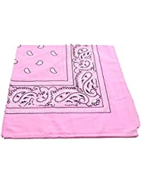 PALE Pink Bandana with Black & White square Paisley pattern ON BOTH SIDES