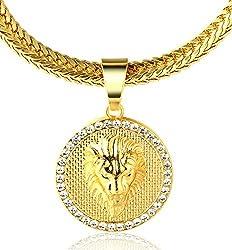 Halukakah ● Kings Landing ● Männlich In 18 Karat Vergoldetete Krone Löwe Anhänger Halskette mit Kostenloser Fischschwanz 30