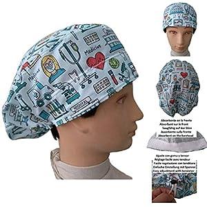 Hüte OP-Kappen Medizinische Instrumente. Krankenschwester, Zahnarzt, Tierarzt, für langes Haar. Saugstreifen vorne, Gummi mit verstellbarem Spanner
