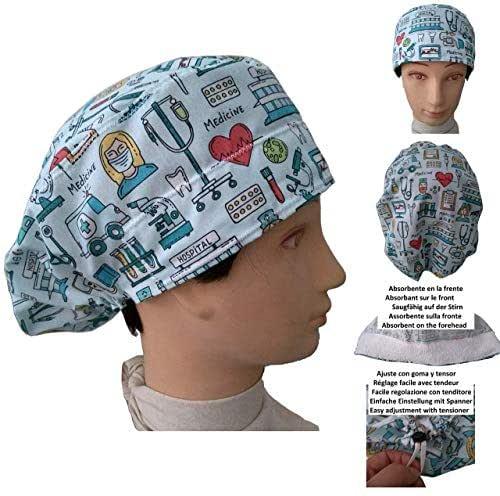 Cappelli per chirurgia STRUMENTI MEDICI per Capelli Lunghi Infermiera Dentista Veterinaria. Striscia assorbente anteriore e tenditore regolabile