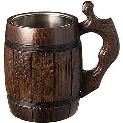 MyFancyCraft Hecho a Mano Jarra de Cerveza de Madera de Roble Taza de Acero Inoxidable Respetuoso del Medio Ambiente Barril Regalo Redondo de Brown