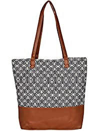 Suprino Printed Canvas Tote Bag For Women & Girls (COS1001-BLACK)