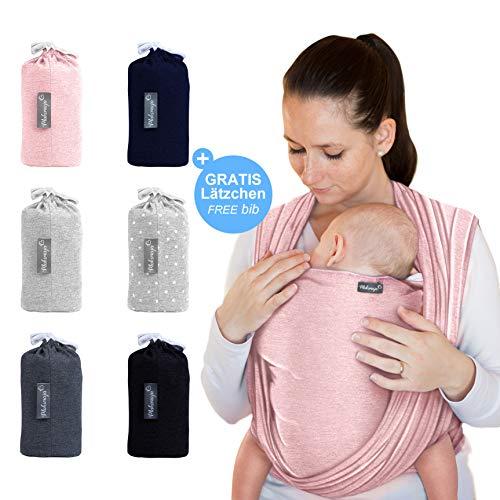 Makimaja - Portabebés rosa - portabebés de alta calidad para recién nacidos y bebés hasta 15 kg - hecho de algodón suave - incluye bolsa para guardar y babero