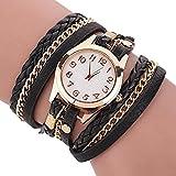 Doitsa Damen Geflochten Armbanduhr aus Leder Jugendliche Maedchen Armreif Uhr 11 verschiedene Farben Schwarz