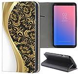 Samsung Galaxy S6 Hülle Premium Smart Einseitig Flipcover Hülle Samsung S6 Flip Case Handyhülle Samsung S6 Motiv (586 Abstract Schwarz Gold Weiß)