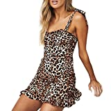 DEELIN Damen Mode Sexy England Camis Bandage Leopard Rüschen Party Club Minikleid