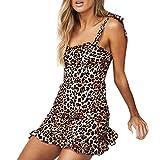 Goosuny Damen Kurze Kleid Leopard Drucken Sommerkleider Spaghetti-Bügel Rückenfrei Wickelkleid Sexy Enger Ärmellos Minikleid Kleider Festliche Mode Cocktailkleid(Braun,S)