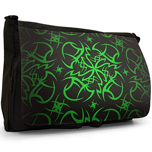 Culto tribale adesivo grande borsa a tracolla Messenger Tela Nera, scuola/Borsa Per Laptop Tribal Cult Tattoo - Green