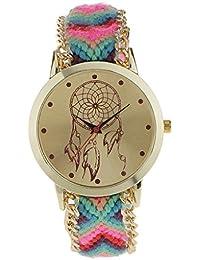 Reloj Pulsera Multicolor Tejer Redondo para Mujeres Regalos de Navidad