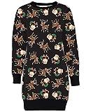 Mymixtrendz. Damen Damen Weihnachten Rentier Wand Ho Ho Santa Schneemann Weihnachten Pullover Kleid Sweatshirt (ML (EU 40-42), Santa Green Sack Black)