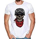 Solike T-Shirt à Manches Courtes Tops Homme Été en Modal Col Rond Imprimé Crâne Casual Chemise Tee Blouse Tshirt de Plage Loisirs Voyager (3XL, Noir(Sourire))