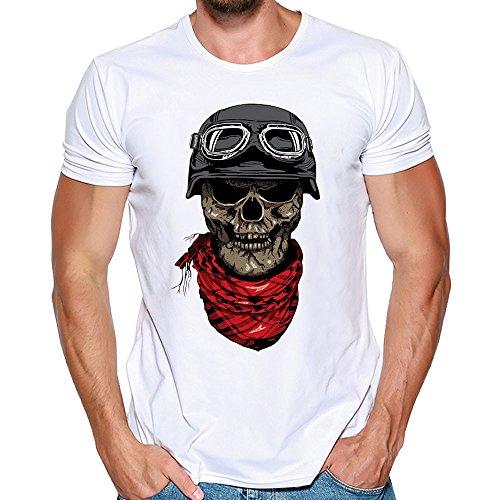 Solike T-Shirt à Manches Courtes Tops Homme Été en Modal Col Rond Imprimé Crâne Casual Chemise Tee Blouse Tshirt de Plage Loisirs Voyager (M, Noir(Sourire))