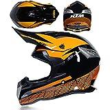 HuAma Casque de Motocross Casque de Cross Casque Tout-Terrain Casque de vélo Unisexe avec Lunettes S/M/L/XL