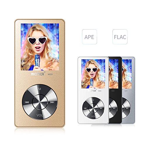 mymahdi 8GB Tragbarer MP3-Player (erweiterbar auf bis zu 128GB), Musik Player/one-key Voice Recorder/FM Radio 70Stunden Wiedergabe mit externe Lautsprecher HD Kopfhörer, Gold