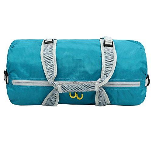 Sijueam Faltbare Tasche Nylon Wasserdichte Reisetasche Multifunktionstasche 3 in 1 Multi Use Bag für Reise Turnhalle Urlaub Blau