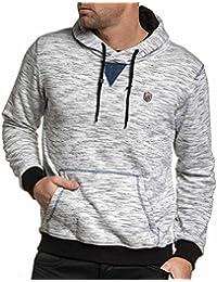 BLZ jeans - Sweat blanc chiné poche kangourou homme