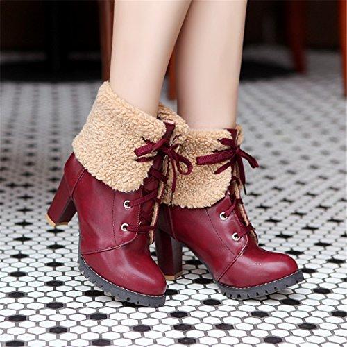 ZQ@QX In autunno e in inverno, testa tonda impermeabile dello spessore di Taiwan con scarpe con i tacchi alti di moda stivali di Martin, sexy, grandi numeri di scarpe da donna red