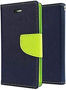 Zaaz-Diary Wallet Flip Case Cover for INFOCUS M2 - Navy Blue and Green